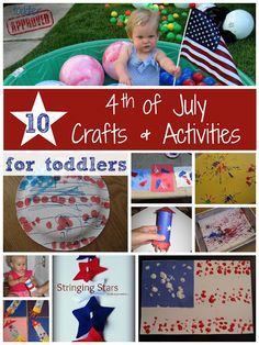 10 Fourth of July Crafts and Activities for Toddlers (from Toddler Approved) Patriotic Crafts, July Crafts, Summer Crafts, Holiday Crafts, Holiday Fun, Holiday Ideas, Summer Fun, Summer Special, Toddler Fun