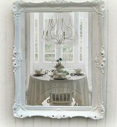 Shabby Chic White Antique Mirror,  Cottage parlor.