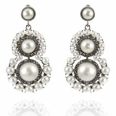 Farah Earrings http://blossomboxjewelry.com/e1107.html #pearls #indian #jewelry #fashion #bollywood #designer #earrings #bridal #diamonds #crystal