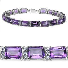 19.60 ct. t.w. Amethyst and Tanzanite Bracelet in Sterling Silver - Fashion Jewelry