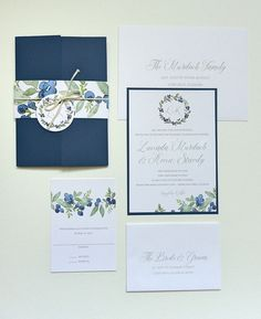 This invitation is printed on white stock, mounted on a navy blue card. The gate fold invitation is closed with a blueberry watercolor belly band tied with cotton string and hang tag. SIZE: 5″ x 7″ COLOR: blue, white, green SAMPLE INCLUDES: invitation, response card, outer envelope and response envelope Other colors and fonts available for custom orders. Thank you notes, table cards, save the dates and other matching items also available. See my shop announcement or contact us for more…