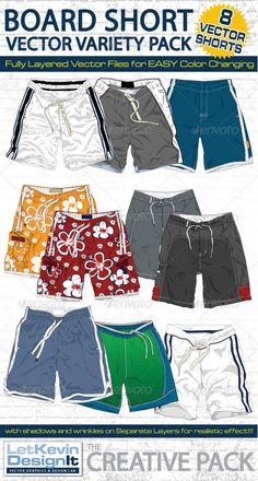 Mens Board Shorts Vector Flats Mock-Ups - Fashion