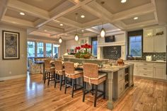 Craftsman style home- love the coffered ceiling! Craftsman Kitchen, Craftsman Style Homes, Craftsman Interior, Craftsman Cottage, Master Suite, Hickory Flooring, Hardwood Floors, Stools For Kitchen Island, Island Stools