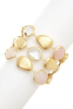 18K Gold Clad Rose Quartz, Rock Crystal & Pebble 3-Row Bracelet