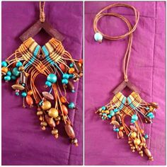 IDEA on copper circles Knot Necklace, Macrame Necklace, Macrame Jewelry, Fiber Art Jewelry, Jewelry Art, Jewellery, Macrame Knots, Micro Macrame, Macrame Design