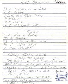 Handwritten Iced Brownies Recipe Card