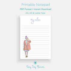 Printable Notepad Planner Inserts Notes Pages Personal