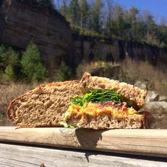 The best part of baking your own breads is enjoying them! This one's Louismill sprouted rye bread with pimento cheese