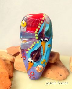 jasmin french  ' diving peewits '  lampwork focal by jasminfrench