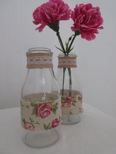 6 Hessian Rose Handmade Glass Milk Jars by BowsandSurprises on Etsy Milk Jars, Hessian, Glass Vase, Marriage, Creative, Handmade, Etsy, Vintage, Home Decor