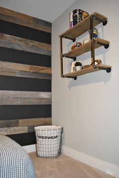 Teenage Boys Room- One Room Challenge Reveal – Hey Fitzy – Boy Room 2020 Industrial Boys Rooms, Industrial Bedroom Decor, Teenage Room, Preteen Boys Room, Teen Boy Bedrooms, Cool Bedrooms For Boys, Little Boys Rooms, Boys Bedroom Decor, Bedroom Ideas