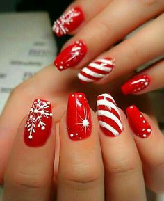 Designs for christmas ideas about Christmas manicure, pretty nails and Holiday nail art. As if ombre nails are not cool enough, this holiday nail design uses a glitter ombre with painted Christmas ornaments on each nail. The look is intricate and fun . Christmas Nail Art Designs, Holiday Nail Art, Christmas Ideas, Christmas Art, Christmas Design, Xmas Nail Art, Christmas Candy, Holiday Ideas, Winter Christmas