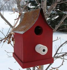 Rustic Farm Birdhouse Old Insulator Perch Metal Roof Cottage Garden or Home Decor via Etsy