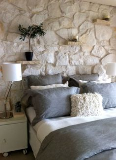 Top Trends of 2019 - Dorton Reclaim wall Top Trends of 2019 - Dorton Reclaim Home Bedroom, Master Bedroom, Bedroom Decor, 1920s Bedroom, Wall Decor, Stone Accent Walls, Stone Walls, Accent Wall Bedroom, House Design