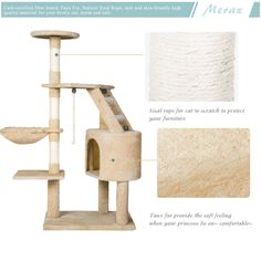 """Merax 48""""H Cat TreesTower Condo House Cat Furniture with Scratching PostBeige * Want additional info? Click on the image. (This is an affiliate link)."""