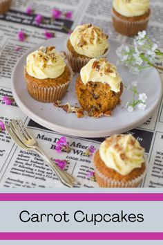 Everything you want in a cupcake, moist and spicy with the best lemon cream cheese frosting Lemon Cream Cheese Frosting, Pecan Nuts, Cinnamon Cream Cheeses, Easy Peasy, I Foods, Baking Recipes, Carrots, Cake Decorating