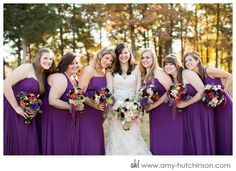 Let your girls really stand out from the rest (as they should!) in royal purple maxi gowns // Sunny vintage-inspired wedding with purple details.   Memphis Wedding Photography by Amy Hutchinson Photography // Wedding planner: Southern Event Planners