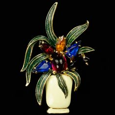 Eisenberg Original Gold Gems and Enamel Flowering Agave in an Enamel Vase Brooch.