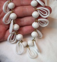 Vintage Beaded Necklace Mod White Lucite by mycreativeinstincts, $24.00