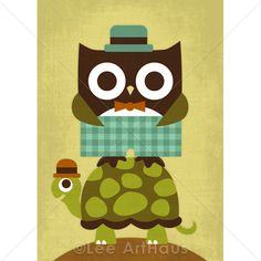30R Retro Owl with Bowtie and Hat 5x7