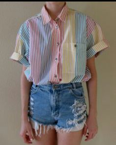 colorful dressy/90's button up shirt with shredded jeans