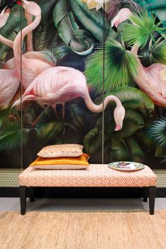 Beautiful tropical flamingo printed wall panels - a great example of 2 of our top 10 interior design trends for art deco and unusual wall coverings. I love this mural; the pale pink and lush green work so well together and it adds such drama and imp Interior Tropical, Tropical Decor, Tropical Style, Tropical Paradise, Botanical Interior, Green Interior Design, Modern Interior, Modern Decor, Estilo Tropical
