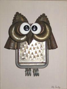 Garden Owl, Metal Art Sculpture, Found Art, Tin Cans, Owl Art, Recycled Art, Craft Items, Yard Art, Clever