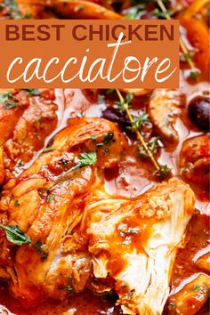 Italian Chicken Cacciatore, Crockpot Chicken Cacciatore, Cacciatore Recipes, Chicken Catchatori, Creamy Chicken, Italian Dishes, Italian Recipes, Best Chicken Recipes, Meat Recipes