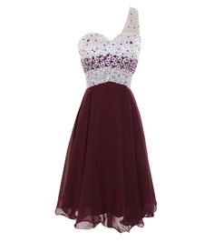 Melantha One Shoulder Homecoming Dresses Short Prom Dress Beadings Size 2 Burgundy