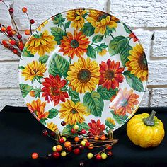 Sunflower Decoupage Decorated Glass Plate by LadyMaysFabritique,