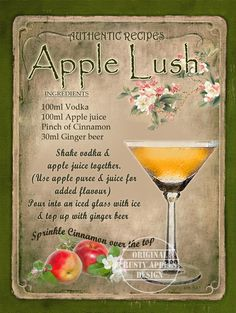 Apple Lush - Health and wellness: What comes naturally Drink Bar, Liquor Drinks, Vodka Cocktails, Cocktail Drinks, Alcoholic Drinks, Beverages, Fancy Drinks, Summer Drinks, Smoothies