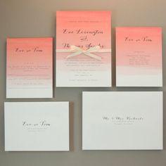 watercolor wedding invitations - coral ombre modern design with, Wedding invitations