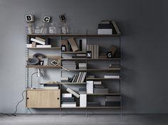 Wooden Cabinets, Oak Cabinets, Placard Simple, String Regal, String Shelf, String System, Oak Shelves, Shelf System, Living Room Inspiration