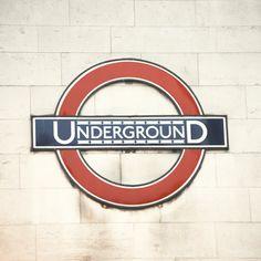 Underground - 5x5 Fine Art Photograph - Home Decor London Metro Subway Typography Street Sign Urban British Wall Art. lorandherworld via Etsy #fpoe