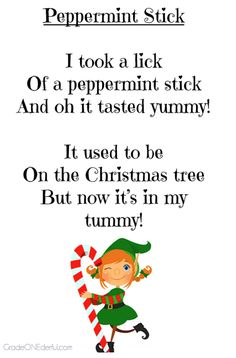 Christmas Poems for Young Children! Three Christmas poems (Peppermint Stick, December, My Gingerbread House) for primary students. These printables are free. Preschool Christmas Songs, Preschool Poems, Kindergarten Poems, Preschool Winter, Kids Christmas Poems, Christmas Songs For Toddlers, Christmas Ideas, Winter Christmas, Christmas Concert