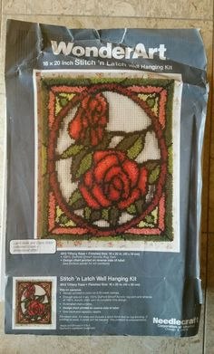 Tiffany Rose latch hook wall hanging kit . Latch hook kit 16` x 20