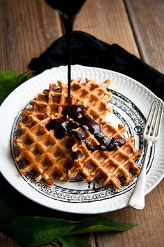 Orange Cinnamon Belgian Waffles with Dark Chocolate Hot Fudge from Desserts for Breakfast.