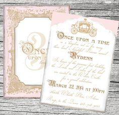 Once Upon a Time Princess Invitation and Thank by theblueeggevents, $148 for 75 invites printed on metallic pearl cardstock with white envelopes or $15 for the PDF