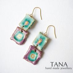 Ceramic earrings turquoise and purple squares with gold by Tanaart, $34.00