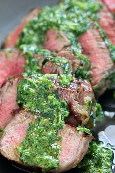 Tender Beef Medallions cooked to perfection and served with a flavorful Chimichurri Sauce! A quick and easy dinner recipe made in under 30 minutes! Beef Medallions, Greek Recipes, Paleo Recipes, Cooking Recipes, Romantic Meals, Romantic Recipes, Grilled Beef, Beef Dishes