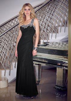 Sheath One Shoulder Beading Black Evening Dress