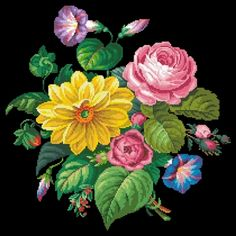 Floral Patterns Archives - Page 15 of 34 - Needlepoint Patterns, Cross Stitch Patterns, Black And White Flower Tattoo, Crochet Cross, Seasonal Flowers, Cross Stitch Flowers, Pebble Art, Amazing Flowers, Dahlia