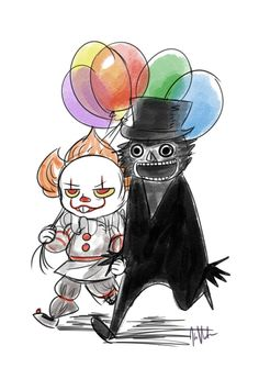 Pennywise and his boyfriend, The Babadook are off on a date to get crepes and terrorize some kids.