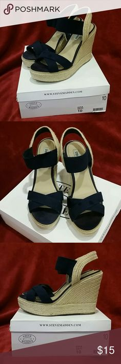 """Eira Navy/Jute wedge platform sandal Navy, Steve Madden, platform sandals with jute wedge. 1"""" platform + 4"""" heel (5"""" total rise - you can look down on all your friends ;)) Elastic at ankle. Elastic at top of right ankle is very slightly stretched, but not really noticeable when wearing. Steve Madden Shoes Wedges"""
