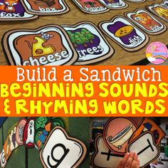Rhyming Words & Beginning Sounds Literacy Centers: Do You Wanna Build a Sandwich?   Are your students struggling with rhyming words and beginning sounds? This activity is perfect reinforcement for those who need reteaching and reinforcement in rhyming skills and initial sound skills. Cvce Words, Rhyming Words, Kindergarten Literacy, Literacy Centers, 1st Grade Centers, Primary Games, Writing Checklist, Initial Sounds, Sound Words