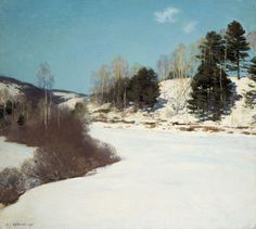 """""""The Hush of Winter,"""" Willard Leroy Metcalf, 1911, oil on canvas, 26 x 29"""", private collection."""
