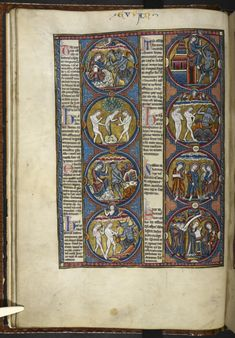 The temptation of Jesus in the wilderness (Matthew 4:1-10), and John beholds Jesus (John 1:35-36), from a Bible moralisée, France (Paris), 2nd quarter of the 13th century, Harley MS 1527, f. 18vHarley MS 1526 and Harley MS 1527 form the final part of a Bible moralisée now divided between three cities: Paris (Bibliothèque nationale de France, MS latin 11560), Oxford (MS Bodley 270b) and London. 5,000 illustrations!