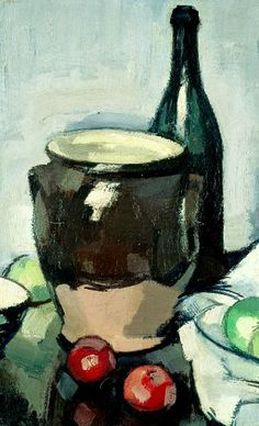 """John Peploe Still Life with a Brown Crock 1917-18. (anyone remember Alexander McCall Smith's """"Peploe,"""" stashed in a closet? And how the painting became a character in the story?)"""