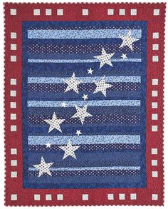 really love this patriotic quilt with applique stars. love the border too.  from July/August Quiltmaker 2012.