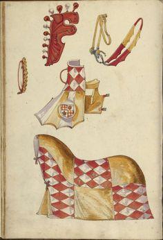 Unknown, illuminator , Horse Armor. German, 1560 - 1570 Leaf: 43 x 28.9 cm (16…